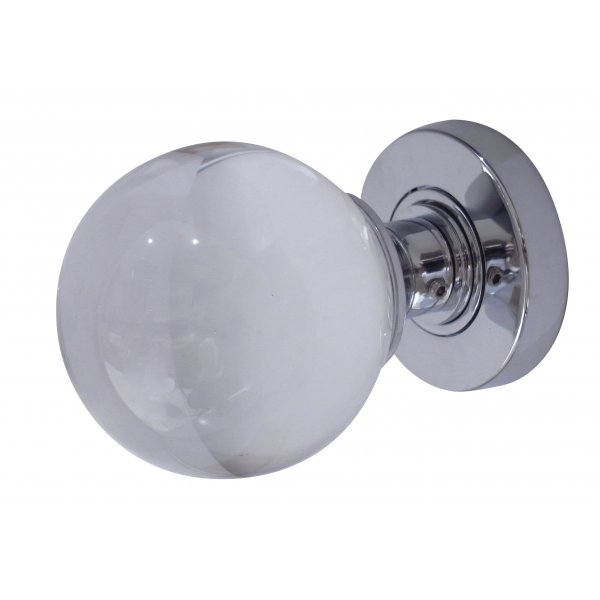 Polished Brass  Plain Glass Ball Sprung Mortice Knob