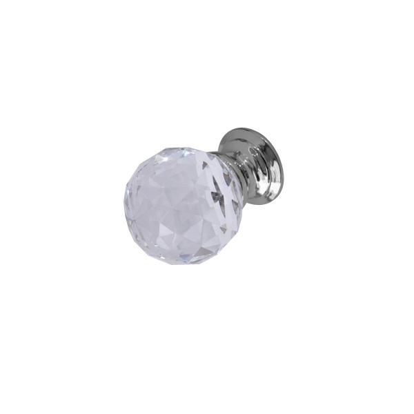 Polished Chrome - 25mm Faceted Glass Cabinet Door Knob
