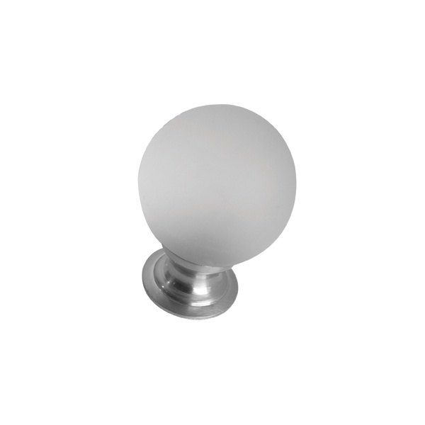Polished Chrome - 35mm Frosted Glass Ball Cabinet Door Knob