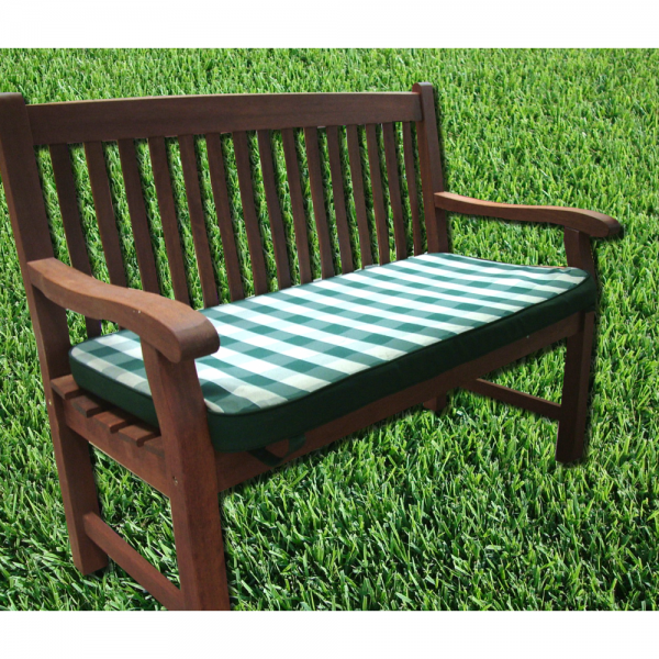 Forest Green & White Checkered 2 Seater Bench Seatpad Cushion