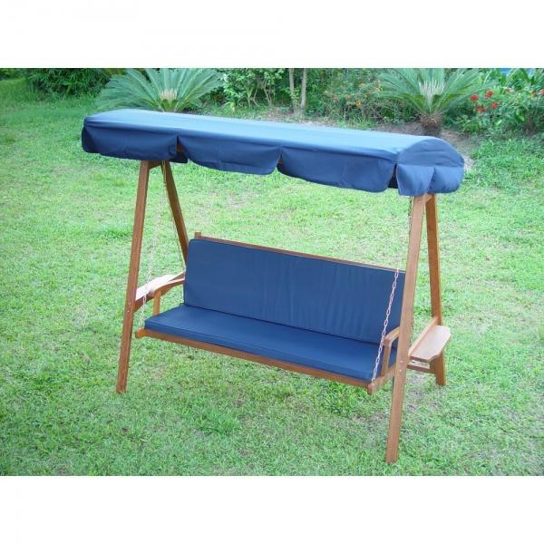 Plain Blue 3 Seater Garden Hammock Cushion