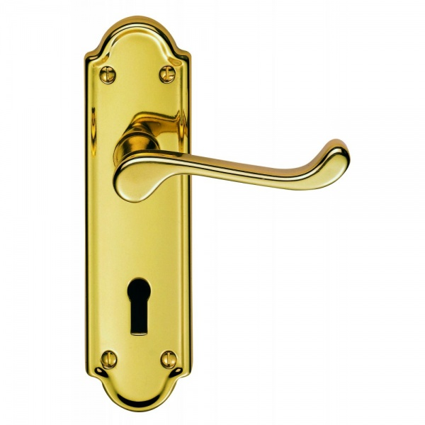 Classical Ashtead Polished Brass Lever on Backplate Door Handle (Lever Latch)