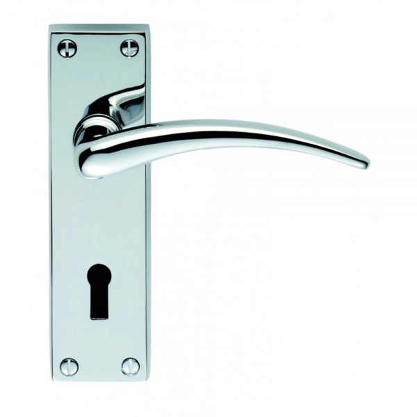 Classical Wing Satin Chrome Lever on Short Backplate Door Handle (Privacy)
