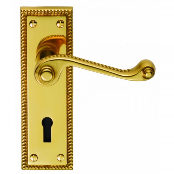 Period Georgian Polished Brass Lever on Backplate Door Handle (Lever Lock)