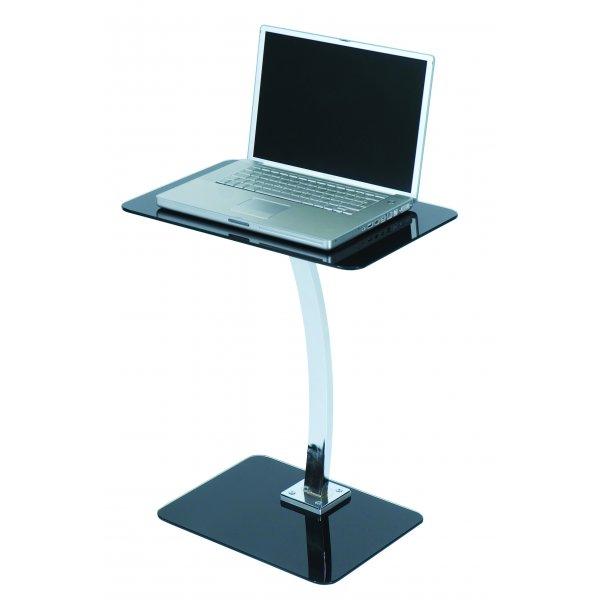 Square Black Glass Laptop Table