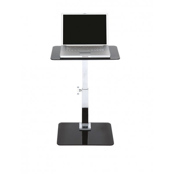 Square Adjustable Black Glass Laptop Table