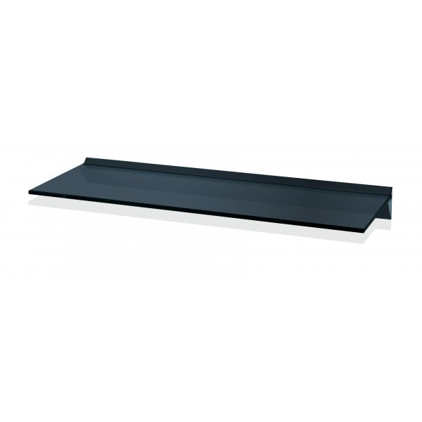 600mm Aluminium Black Glass Shelf