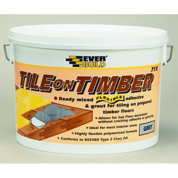 Everbuild - 713 Flex Plus Tile On Timber Grey Tile Adhesive 10LTR