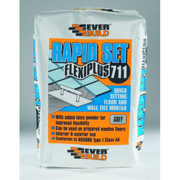 Everbuild - 711 Rapid Set Flexiplus Grey Floor And Wall Tile Adhesive (10kg)