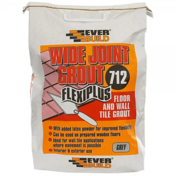 Everbuild - 712 Wide Joint Flexiplus Grey Tile Grout 5KG