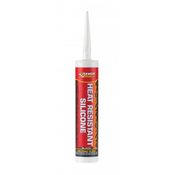 Everbuild  Heat Resistant Black Silicone Cartridge 310ml