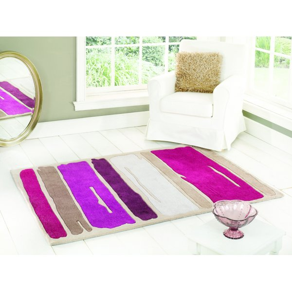 Infinite Mood Art Paint Strokes Purple Rug 80x150