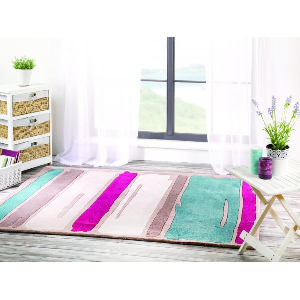 Infinite Mood Art Paint Strokes TealPurple Rug 80x150