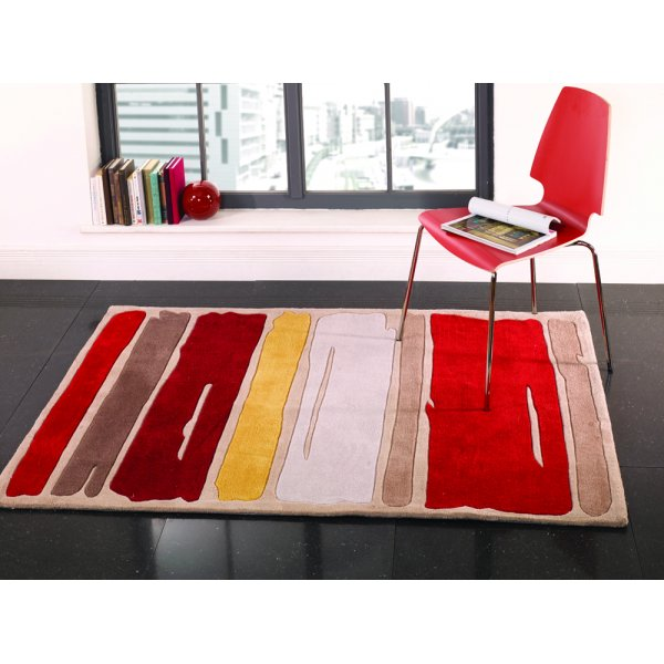 Infinite Mood Art Paint Strokes Orange Rug 80x150