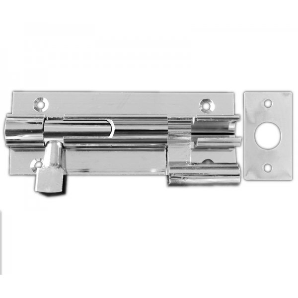 100mm Necked Door Bolt - Polished Chrome
