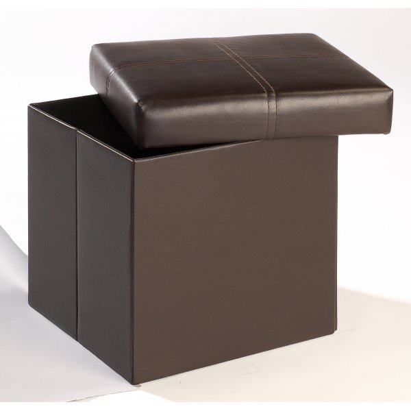 Madrid Brown Faux Leather Storage Stool