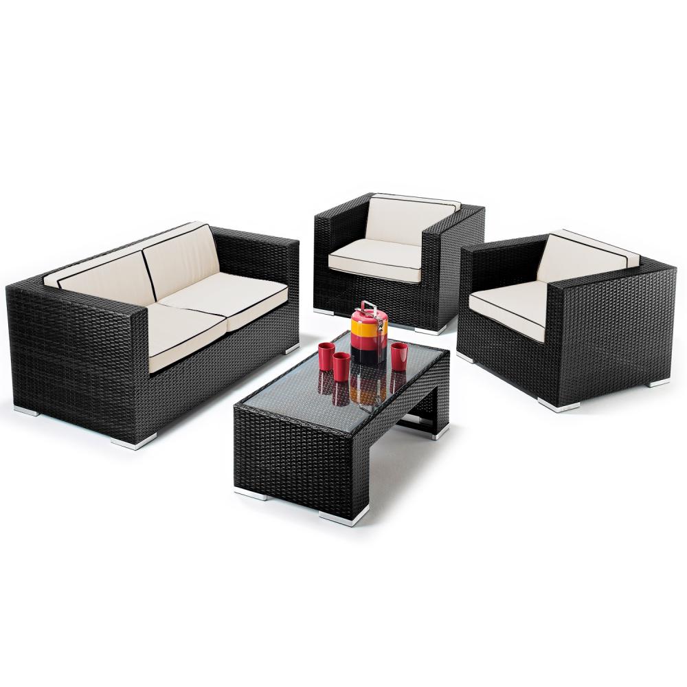 rattan furniture verano cannes 4 piece black rattan patio sofa set
