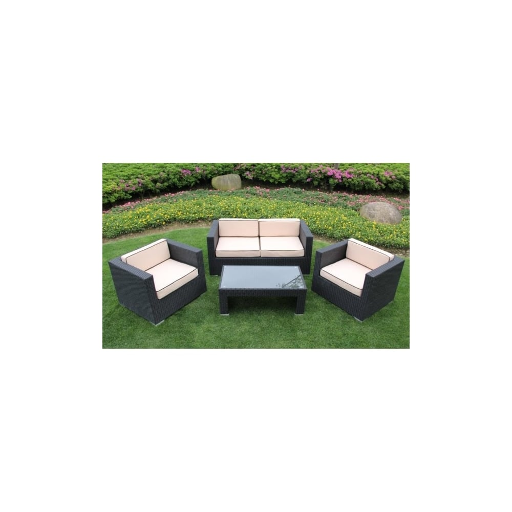 richmond garden 2016 clearance rattan furniture verano cannes 4 piece black rattan patio sofa set - Garden Furniture 2016 Uk