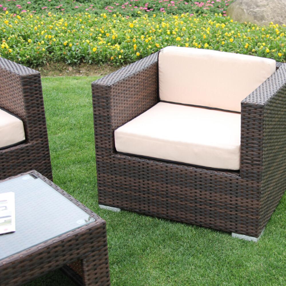Richmond Garden 2016 Clearance Rattan Furniture Verano Cannes 4 Piece Mocha Brown Rattan Patio