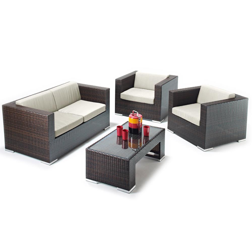 Richmond Garden 2016 Clearance Rattan Furniture Verano Cannes 4 Piece Mocha Brown Rattan Patio ...