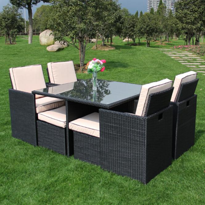 Richmond Garden 2016 Clearance Rattan Furniture Verano Cannes 4 Seat Black  Rattan Cube Patio Set