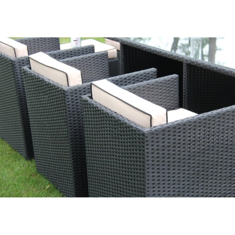 richmond garden 2016 clearance rattan furniture verano cannes 6 seater black rattan cube patio. Black Bedroom Furniture Sets. Home Design Ideas
