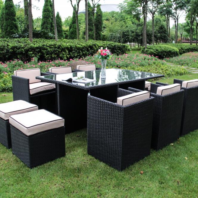 Richmond Garden 2016 Clearance Rattan Furniture Verano Cannes 6 Seater  Black Rattan Cube Patio Set