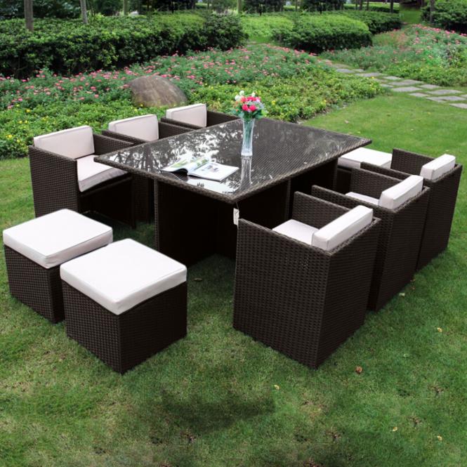 Richmond Garden 2016 Clearance Rattan Furniture Verano Cannes 6 Seater  Mocha Brown Rattan Cube Patio Set