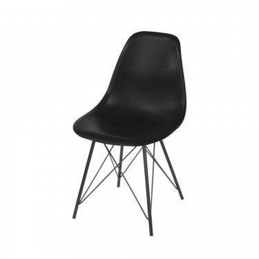 2x Aspen Black Plastic Occasional Chairs with Black Metal Legs (ASCH8B)