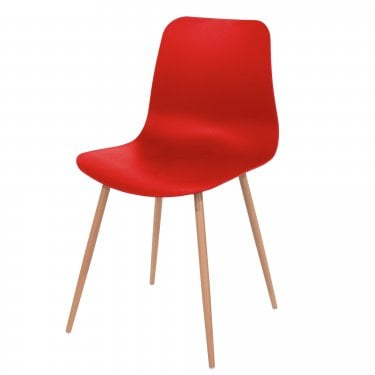 2x Aspen Red Plastic Occasional Chairs with Wood Effect Metal Legs (ASCH7R)