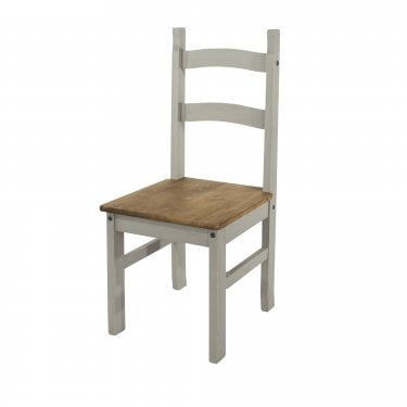 2x Corona Grey Washed Effect Pine Dining Chairs (CRG105)