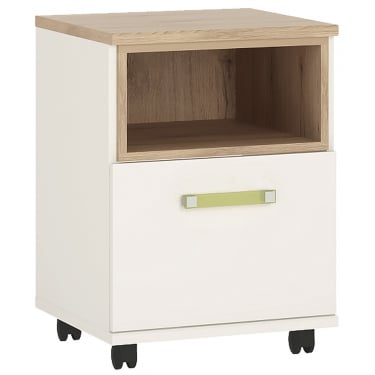 4KIDS High Gloss White & Light Oak 1 Door Desk with Lemon Handle