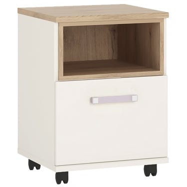 4KIDS High Gloss White & Light Oak 1 Door Desk with Lilac Handle