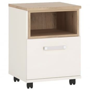 Furniture To Go 4KIDS High Gloss White & Light Oak 1 Door Desk with Opalino Handle