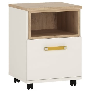 4KIDS High Gloss White & Light Oak 1 Door Desk with Orange Handle