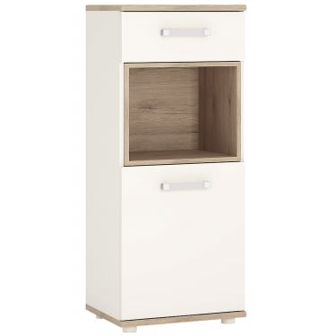 Furniture To Go 4KIDS High Gloss White & Light Oak 1 Drawer 1 Door Narrow Cabinet with Opalino Handles (4053339)