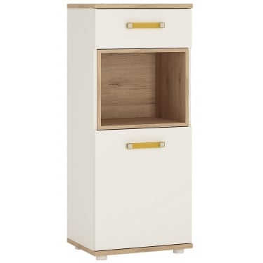 Furniture To Go 4KIDS High Gloss White & Light Oak 1 Drawer 1 Door Narrow Cabinet with Orange Handles (4053344P)