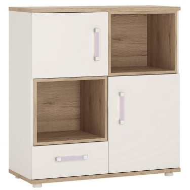 4KIDS High Gloss White & Light Oak 1 Drawer 2 Door Cupboard with Lilac Handles