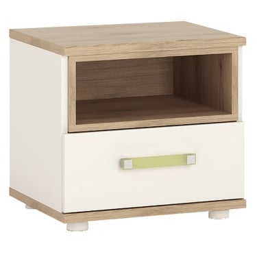 4KIDS High Gloss White & Light Oak 1 Drawer Bedside Cabinet with Lemon Handle