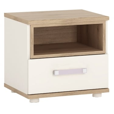 4KIDS High Gloss White & Light Oak 1 Drawer Bedside Cabinet with Lilac Handle