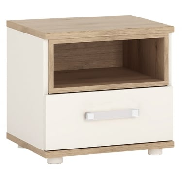 4KIDS High Gloss White & Light Oak 1 Drawer Bedside Cabinet with Opalino Handle