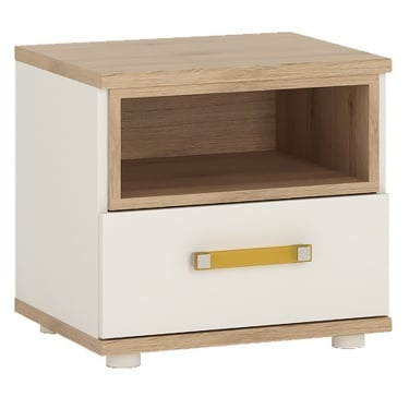 4KIDS High Gloss White & Light Oak 1 Drawer Bedside Cabinet with Orange Handle