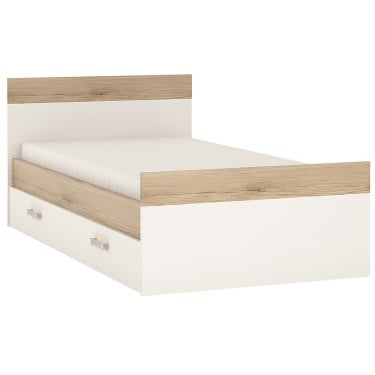 4KIDS High Gloss White & Light Oak 1 Drawer Single Bed with Lilac Handle