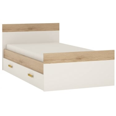 4KIDS High Gloss White & Light Oak 1 Drawer Single Bed with Orange Handle