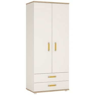 4KIDS High Gloss White & Light Oak 2 Drawer 2 Door Wardrobe with Orange Handles