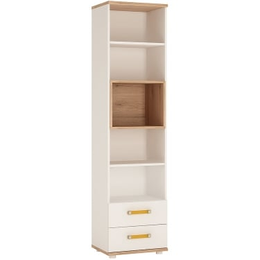 4KIDS High Gloss White & Light Oak 2 Drawer Tall Bookcase with Orange Handles