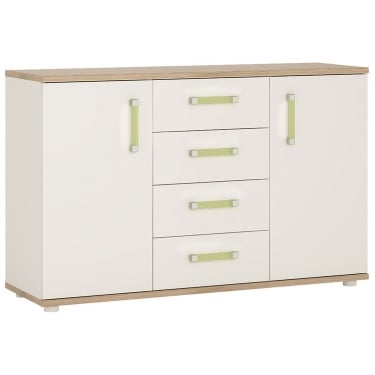 4KIDS High Gloss White & Light Oak 4 Drawer 2 Door Sideboard with Lemon Handles