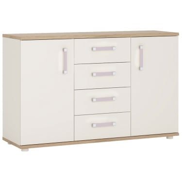 4KIDS High Gloss White & Light Oak 4 Drawer 2 Door Sideboard with Lilac Handles