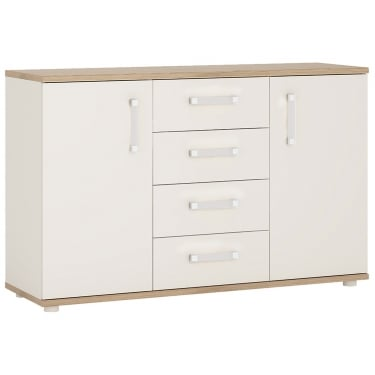 4KIDS High Gloss White & Light Oak 4 Drawer 2 Door Sideboard with Opalino Handles