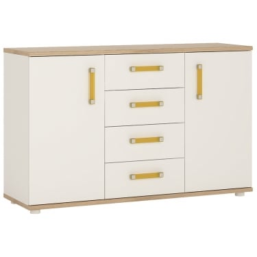 4KIDS High Gloss White & Light Oak 4 Drawer 2 Door Sideboard with Orange Handles